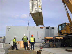 The largest of the batteries being installed in Darlington, Yorkshire